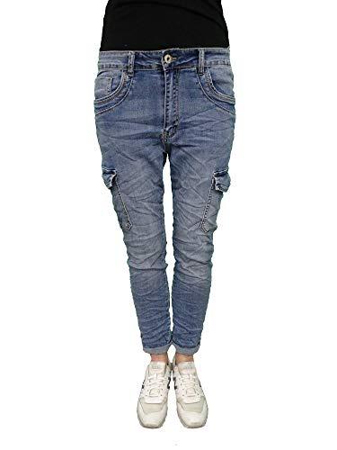 Karostar Denim Stretch Baggy-Cargo-Jeans mit Seiten Taschen Denim L-40