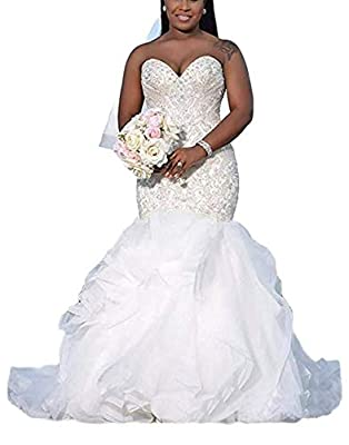 Material:High Quality Lace,Tulle,Beaded.Features: 1) Sweetheart , Sweep Train 2) Mermaid 3) Pleats 4) Sleeveless 5) Build-in-bra 6) Lace Up Back . Please read OUR SIZE CHART image on the left carefully before you order the dress from us,and choose th...