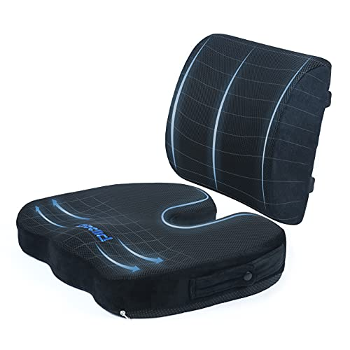 Plixio Memory Foam Seat Cushion and Lumbar Back Support Pillow- Chair Pillow for Sciatica, Coccyx, Back & Tailbone Pain Relief - Orthopedic Chair Pad for Support in Office Desk Chair and Car Seat