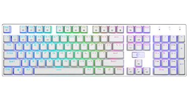 E-Element Z-88 RGB Mechanical Gaming Keyboard, Programmable RGB Backlit, Blue Switch -Tactile & Clicky, Water Resistant, 104 Keys Anti-Ghosting for Mac PC, Silver+White