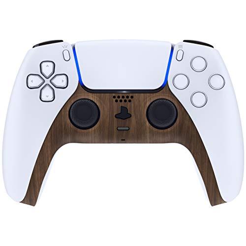 eXtremeRate Abdeckung Kompatibel mit PS5 DualSense 5 Controller,Hülle Case Schutzhülle Ersatz Clip Shell Dekorative Abdeckung für Playstation 5 Controller mit Akzentringe(Soft Touch-Holzmaserung)