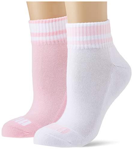 PUMA Junior Clyde Quarter Socks (2 Pack) Calzini, Pink/White, 27-30 (Pacco da 2) Unisex-Bambini