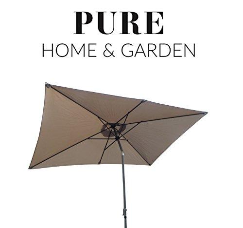 Pure Home & Garden Kurbelschirm 300x200 Taupe, mit UV-Schutz 40 Plus, Knicker und abnehmbarem Bezug
