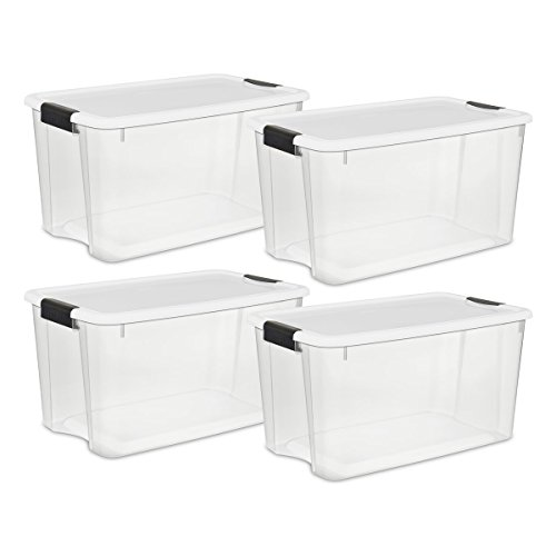 Sterilite 19889804 70 Quart/66 Liter Ultra Box Clear with a White Lid and Black Latches, 4-Containers