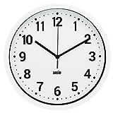ANSIO Horloge Murale, Horloge Murale Ronde avec Cadre Blanc, Fond Blanc et...