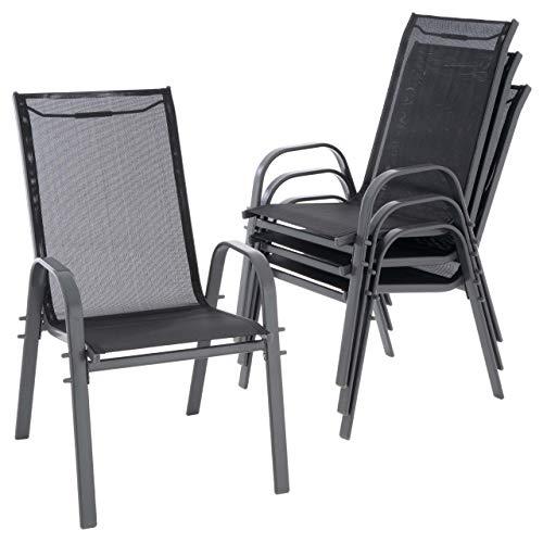Nexos 4er Set Gartenstuhl Camping Stapelstuhl Hochlehner Terrassenstuhl – Textilene Stahl stapelbar – Farbe: Rahmen anthrazit/Bespannung schwarz