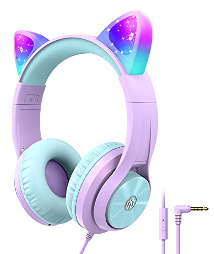 iClever Kids Headphones for Girls Gift Over Ear Headphones with Microphone/Shareport, Wired Cat Ear Led Light Up Headphones,94dB Volume Limited, Foldable Headphones for Kids Girls Birthday Gifts/School/iPad/Kids Tablet/Travel Purple