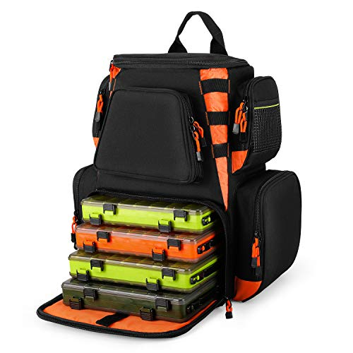 Magreel 25L Fishing Tackle Backpack Waterproof Tackle Bag with 4 Trays Tackle Boxes (3600)