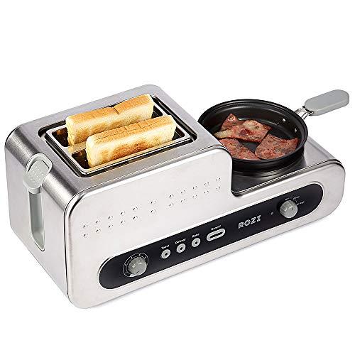 Rozi Tostapane 2 Fette Acciaio Inossidabile, Tostapane per Toast 6 Livelli, Tostapane 5 in 1 con...