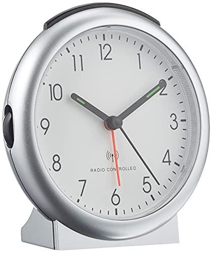 TFA Dostmann Analoger Funk-Wecker, 98.1036, mit Alarm, inklusive Funkuhr, 15,2 x 11,8 x 6,8 cm, silber