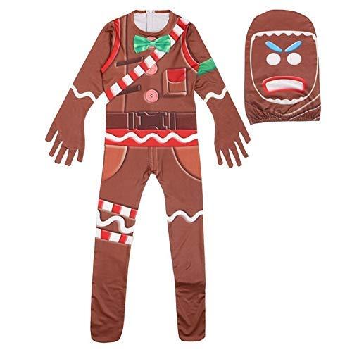 hll-036 Bambini Gingerbread Man Skull Trooper Decorazione della Pelle Ragazzi Personaggio Clown Cosplay Abiti Costumi di Halloween (A, 150)