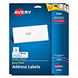 Avery 8160 Easy Peel Address Labels for Inkjet Printers, 1 x 2 5/8 Inch, White, 750 Count (Pack of 2)