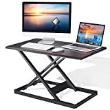 Standing Desk Converter with Height Adjustable, 28.3' Gas Spring Riser Sit to Stand Tabletop Workstation, Perfect for Laptop & Computer Monitors by Perlegear