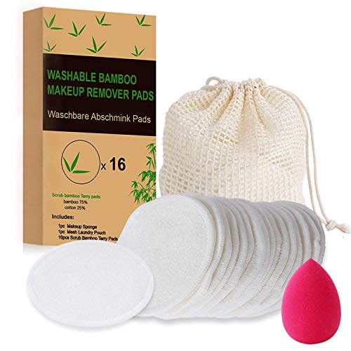 Waschbare Abschminkpads Waschies Wiederverwendbare Wattepads Bambus Make Up Vegan Bio-Make-up-Scheibe Gesichtsreinigungsscheiben (16 Stück) + 1 Wäschebeutel + 1 Make-up Schwamm Biologisch Abbaubare