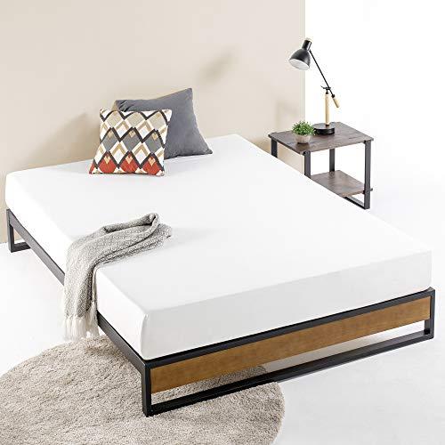 ZINUS GOOD DESIGN Award Winner Suzanne 10 Inch Metal and Wood Platforma Bed Frame / No Box Spring Needed / Wood Slat Suport, Brown, Queen