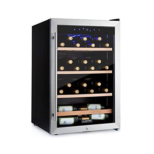 KLARSTEIN Vinamour - Frigorifero per Vini con Sportello in Vetro, Cantinetta Frigo, Touch Control, Posizionamento Libero, Volume: 128 L, 48 Bottiglie, Temperature: 4-18 C, Acciaio Inox