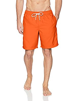 """This trunk-style swimsuit features an elastic waistband with drawstring for a flexible yet secure fit Features 9"""" inseam, side seam pockets, and single rear pocket with hook and loop closure Sport made better: we listen to customer feedback and fine-..."""