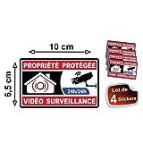 Autocollant propriété sous vidéo surveillance alarme logo 363 sticker 4...