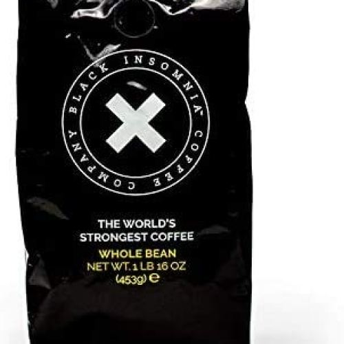 Black Insomnia Bean Coffee - The Strongest Coffee in the World - High Caffeine, Smooth Roast, Delicious Flavor - 1lb Bag