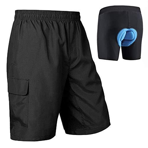 BALEAF Men's Mountain Bike Shorts 3D Padded Cycling Shorts MTB Bicycle Loose Fit Biking Apparel SPF 50 Black Size XL