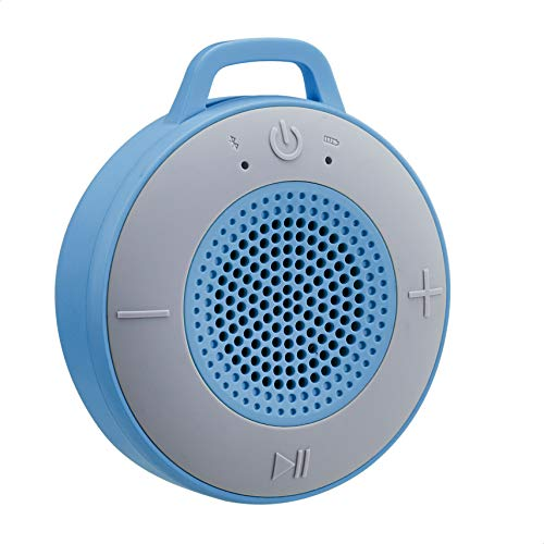 AmazonBasics - Altavoz inalámbrico para ducha, incluye ventosa y micrófono incorporado, de 5 W, azul