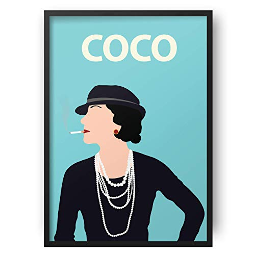Coco Chanel Poster // Blue - Artwork - Póster - Minimalist - Inspirational - Colourful- Minimalist - arte - Minimalista - Inspirador - Arte retro