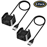 QIBOX Compatible with Fitbit Versa Charger, 2-Pack Replacement USB Charging Cable Dock Stand for Versa / Versa Lite / Versa SE Smartwatch, 3Ft Sturdy Power Charging Cord (Not for Versa 2)