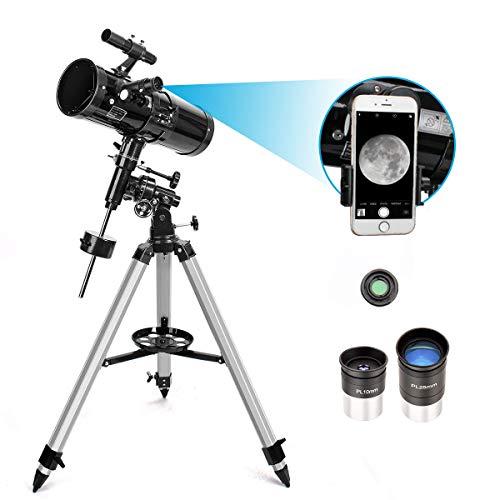 Moutec Telescopio Reflector – Montura Ecuatorial – Telescopios de Apertura de 114 mm Para Adultos – Longitud Focal de 500 mm Con Trípode Ajustable y Alcance del Buscador