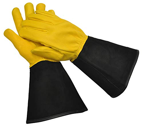 WAGNER Gold Leaf Gloves - TOUGH TOUCH Herren - Gartenhandschuhe / Rosenhandschuhe der Extraklasse, Hirschleder und Rindsleder / stachelresistent - 25305000
