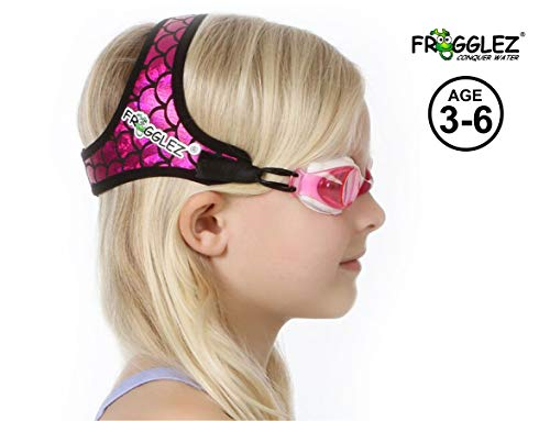 Frogglez Kids Swim Goggles with Pain-Free Strap | Ideal for Ages 3  6 in Swimming Lessons | Leakproof, No Hair Pulling, UV Protection | Swimming Goggles for Kids Recommended by Olympic Swimmers