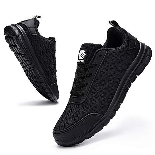 Ziboyue Zapatillas de Seguridad para Hombre Mujer Ligero Transpirable Calzado de Trabajo con Punta de Acero Anti-Pinchazo Zapatos de Seguridad (Negro Puro,42 EU)