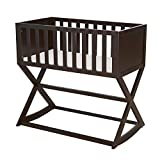 Kinsuite Baby Wooden Cradle, Bedside Crib Shaker, with Mattress, Brake Stabilizer to Control Rocking and Static Motion, Handmade Classic Design, Brown