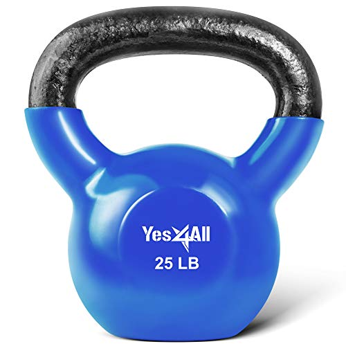 Yes4All Vinyl Coated Kettlebell Weights Set  Great for Full Body Workout and Strength Training  Vinyl Kettlebell 25 lbs
