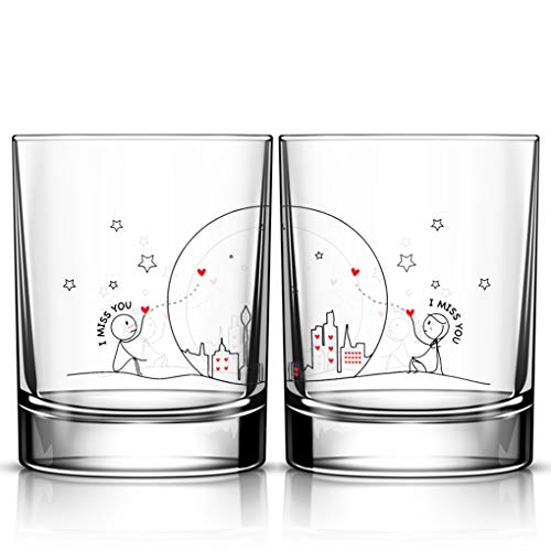 BOLDLOFT Miss Us Together His and Hers Drinking Glasses-...