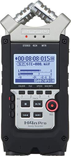 "Zoom H4n Pro 4-Track Portable Recorder, Stereo Microphones, 2 XLR/ ¼"" Combo Inputs, Guitar Inputs, Battery Powered, for Stereo/Multitrack Recording of Music, Audio for Video, and Podcasting"