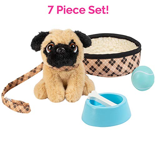 Adora Amazing Pets Preston the Brown Pug  18 Doll Accessory includes 4.5' Dog, Dog Bed, Collar, Leash, Ball, Wooden Bowl and Bone (Amazon Exclusive)