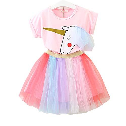 Lee Little Angel Pequeña niña Unicornio Casual Encaje Vestido Suave Camiseta Arcoiris Falda (6-7 años de Edad, Rosa)