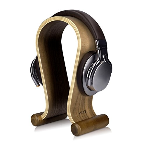 kalibri supporto porta cuffie in legno - stand porta cuffie da tavolo base universale per cuffie cablate o wireless design minimale in vero legno noce