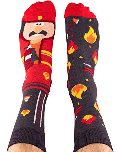 Nanushki unisex lustige verrückte Motiv Socken Feuerwehrmann (44-46, Forrest McBurney)
