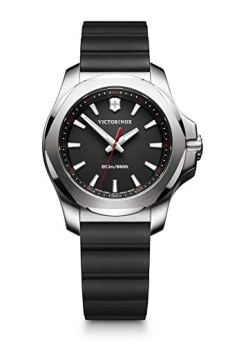 Victorinox Swiss Army Women's I.N.O.X. Stainless Steel Swiss-Quartz Watch with Rubber Strap, Black, 18 (Model: 241768)