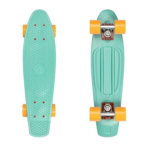 Retrospec Quip Skateboard 22.5' - Classic Retro Plastic Cruiser Complete Skateboard - Compact Board w/Grippy, Molded Waffle Deck