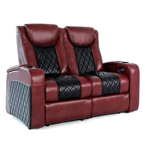 Zinea Kinosessel Emperor Two Tone - 2 Sitzer Loveseat - Premiumleder, elektrisch verstellbar, Becherhalter, Ambientebeleuchtung, Kinosofa, Kinositz - Sofort Lieferbar