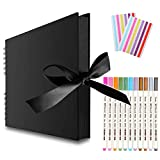 EVNEED 11.5 x 8.5 Inch Scrapbook Photo Album,Wedding Guest Book Anniversary Memory Scrapbooking,Wedding Photo Album with DIY Accessories Kit for Craft Paper DIY Gifts,Black Cover,80 Pages (40 Sheets)