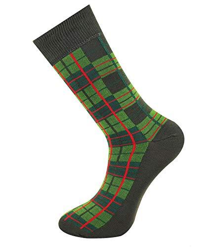 Mysocks Calzini da uomo in tartan alla caviglia verde