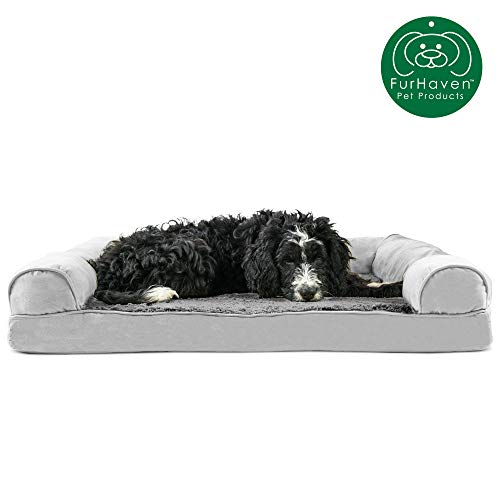 Furhaven Pet Dog Bed | Orthopedic Ultra Plush Faux Fur & Suede Traditional Sofa-Style Living Room Couch Pet Bed w/ Removable Cover for Dogs & Cats, Gray, Large