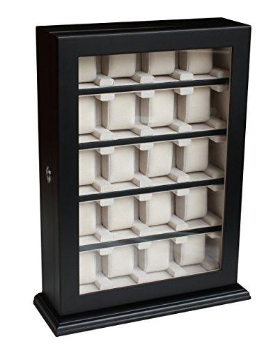 Uhrenbox für Wand 20 Uhren schwarz bis 60 mm Uhrenvitrine Uhrenschatulle