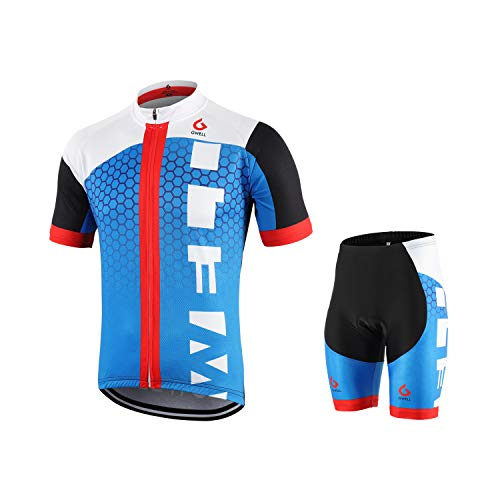 GWELL Männer Fahrradtrikot Set Fahrradbekleidung Atmungsaktiv Fahrrad Trikot Kurzarm + Radhose mit 3D Sitzpolster Blau 2XL