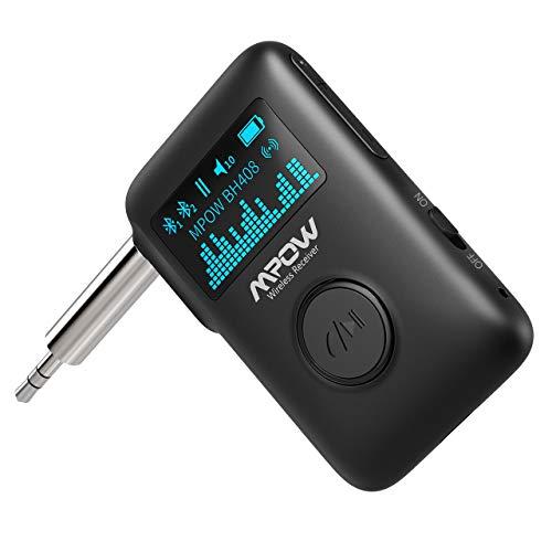 Mpow Ricevitore Musicale Wireless Bluetooth, Ricevitore Audio Bluetooth 5.0 con Schermo OLED, Adattatore per Streaming Musicale con Cancellazione del Rumore DSP CVC8.0, Audio Surround 3D per Autoradio