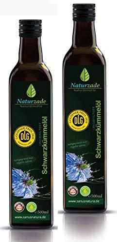 Naturzade Schwarzkümmelöl 1000ml Ungefiltert Glasflasche ( 2 x 500ml ), kaltgepresst, direkt vom Hersteller