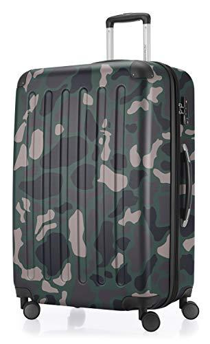 HAUPTSTADTKOFFER - Spree - Hartschalen-Koffer Koffer Trolley Rollkoffer Reisekoffer Erweiterbar, 4 Rollen, TSA, 75 cm, 119 Liter, Camouflage